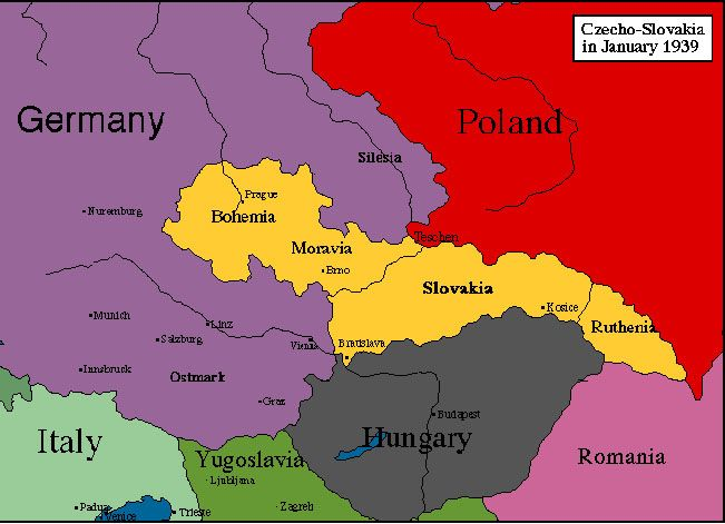 Czechoslovakia Map During WW World Map Pinterest - Germany map during ww2