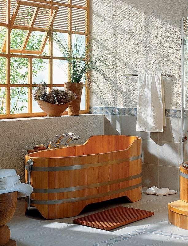 Vasche da bagno rustiche - Vasca da bagno in legno   Spa bathrooms ...