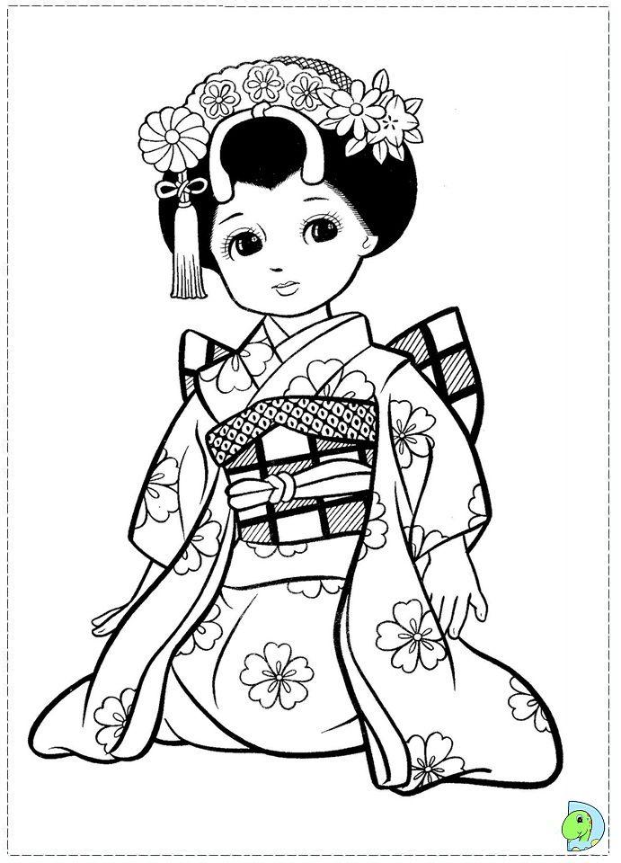 Japanese Girl Coloring Page Dinokids Org Coloring Pages Coloring Books Coloring Pages For Girls