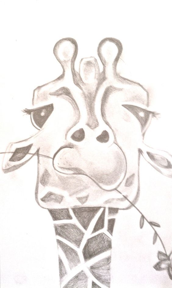 Funny giraffe drawing by bunnytheduck on etsy animal sketch drawing illustration inspiration · easy pencil