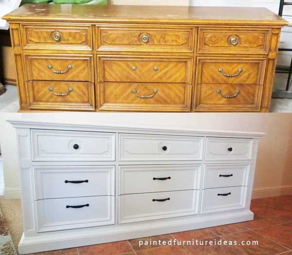 Pecan Dresser Refinished In White Painted Furniture Ideas Refinish
