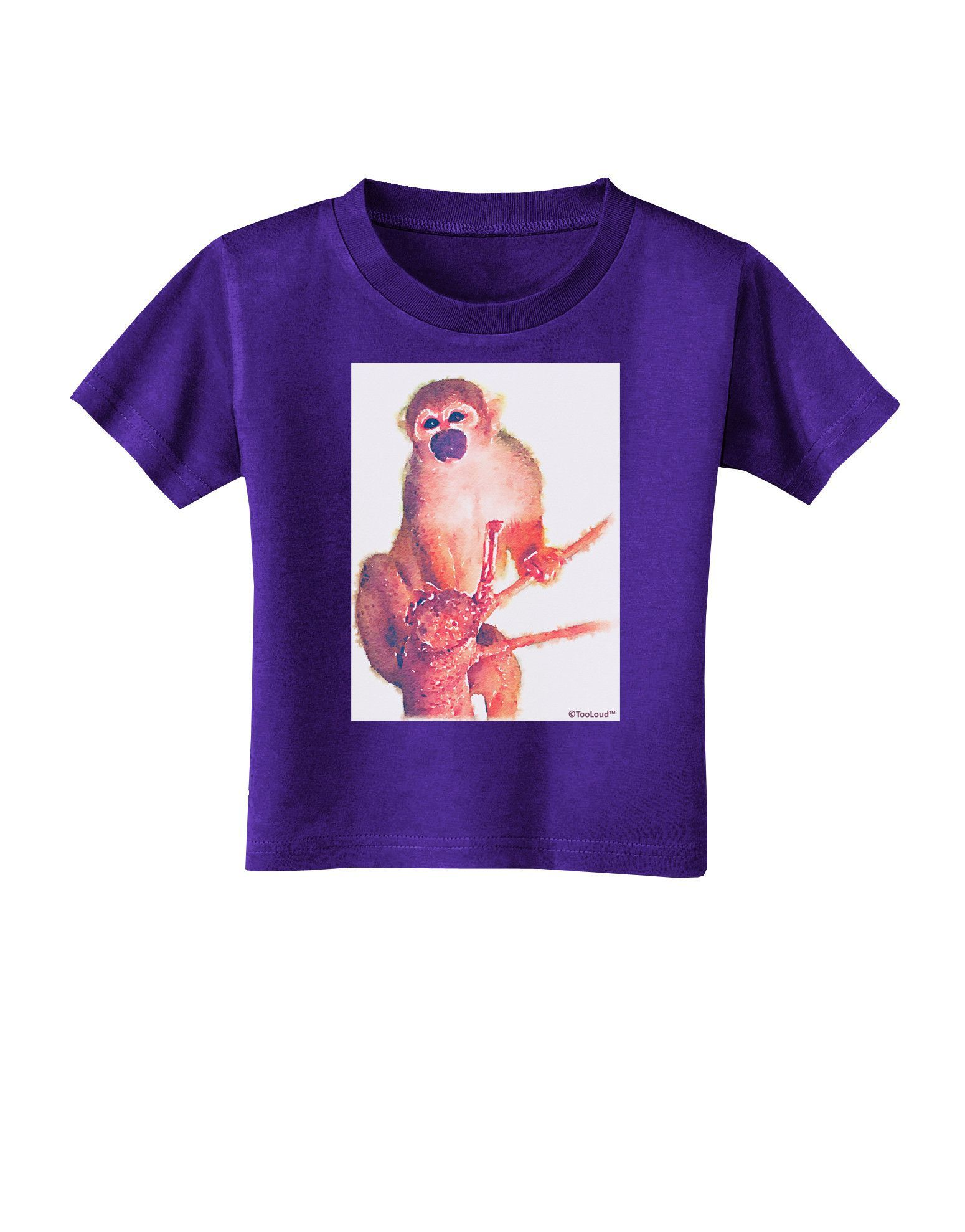 TooLoud Monkey in Tree Watercolor Toddler T-Shirt Dark