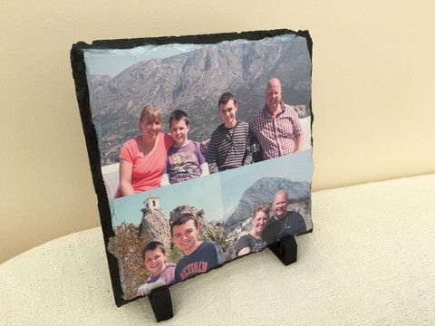 Take a look at our Personalised Photo Slate. These are hand-carved natural slates with your own photo displayed on the front. We can even create a collage of multiple photos on one slate.  www.personalisewise.com