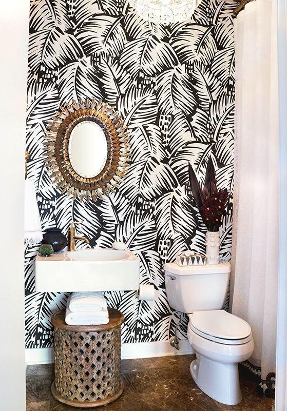 Bathroom Corner With A Slender Shower Stall This Small Shower Was Fitted Into A Bathroom Corner Bathro Small Appartment Bathroom Wallpaper Tropical Bathroom