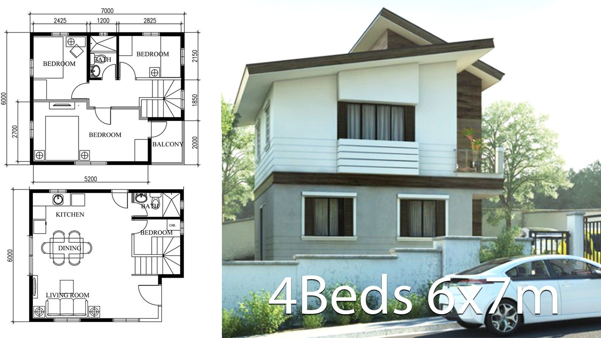 Small Home Design Plan 6x7m With 4 Bedrooms Home Plans Small House Design Bungalow House Design Home Design Plan