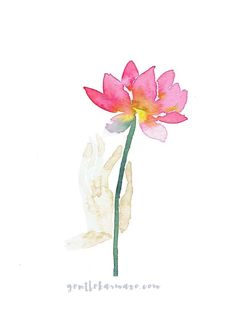 Compassion Lotus Flower Original Watercolor Giclee Print