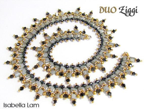 DUO Ziggi SuperDuo Perlen Halskette Pdf von bead4me auf Etsy   DIY ...