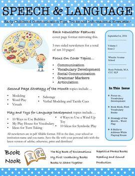 EI & Preschool Monthly Speech/Language Newsletter for ...