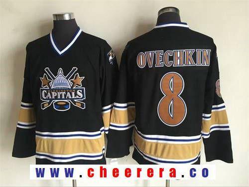 Men S Washington Capitals 8 Alex Ovechkin 2000 01 Black Ccm Vintage Throwback Jersey Jersey Alexander Ovechkin Nhl Jerseys