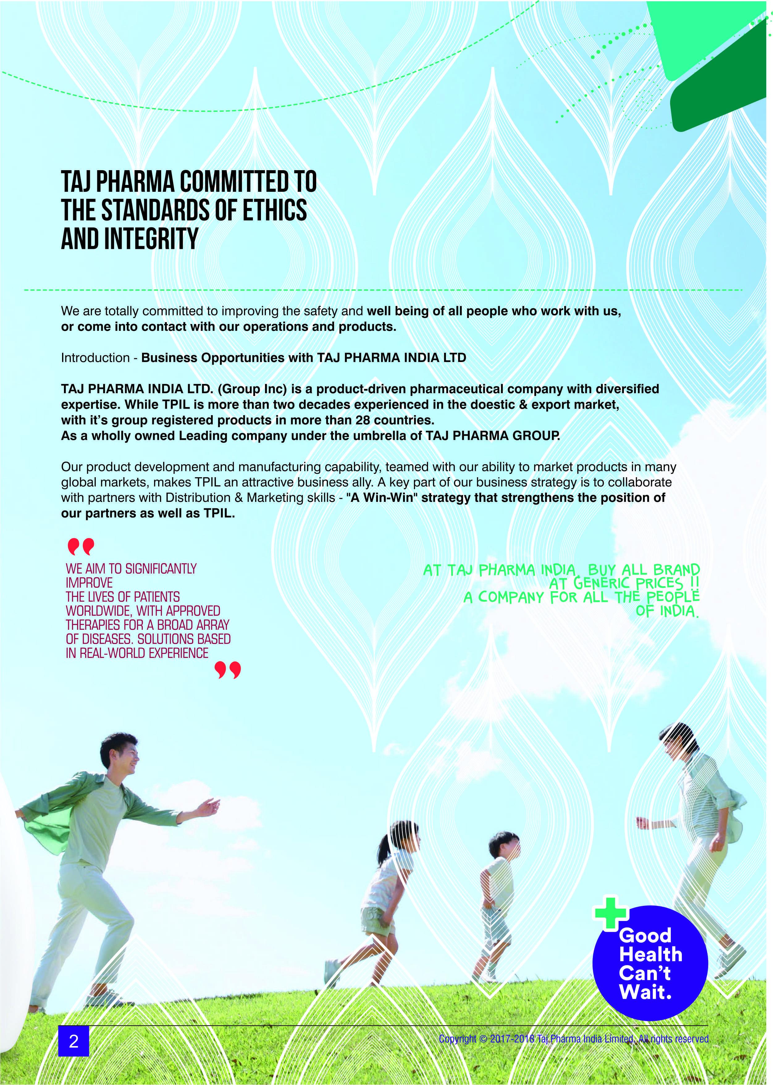 Taj Company Brochure, pharmaceutical brochure, manufacturer