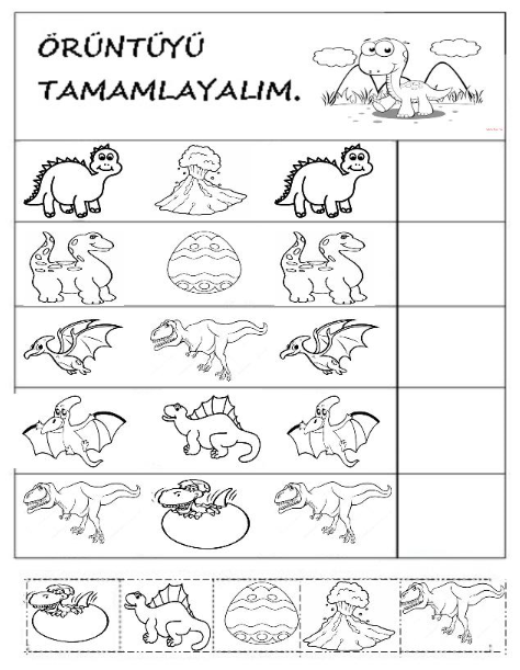 Dinozor Okuloncesi Oruntu Preschool Okuma Calismasi Okul