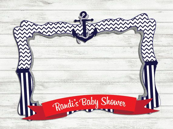Nautical Baby Shower Photo Frame - Photo booth prop - Baby shower ...