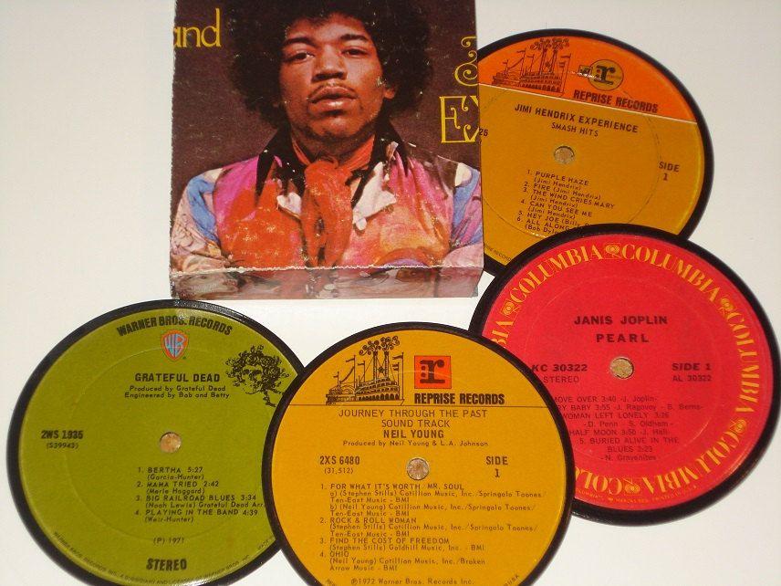 Classic Rock Coasters Vinyl Record Drink Coasters Jimi Hendrix Experience Vinyl Records Classic Rock