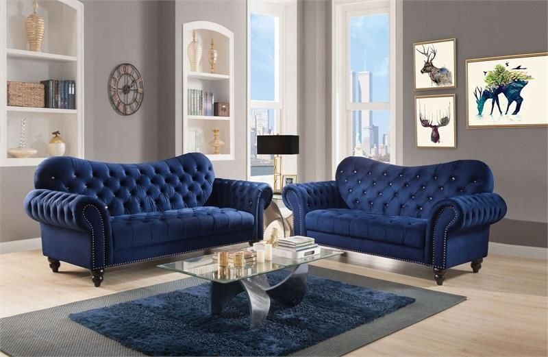 53405 Acme Iberis Navy Sofa Set Collection Bluesofa Tuftedsofa Chesterfield Blue Furniture Living Room Velvet Living Room Navy Blue Living Room #pair #of #chairs #for #living #room