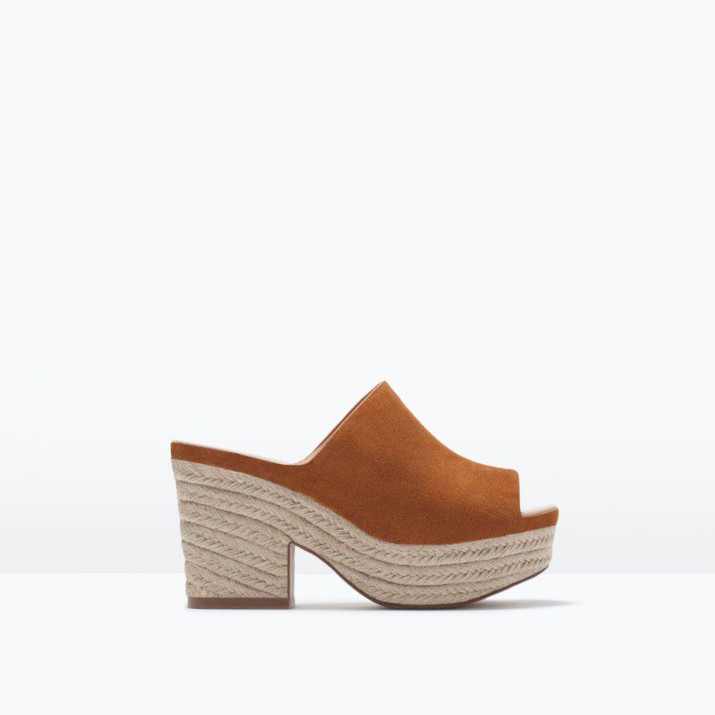 SANDALES À TALON COMPENSÉ EN CUIR-Chaussures-Femme-SHOES & BAGS | ZARA