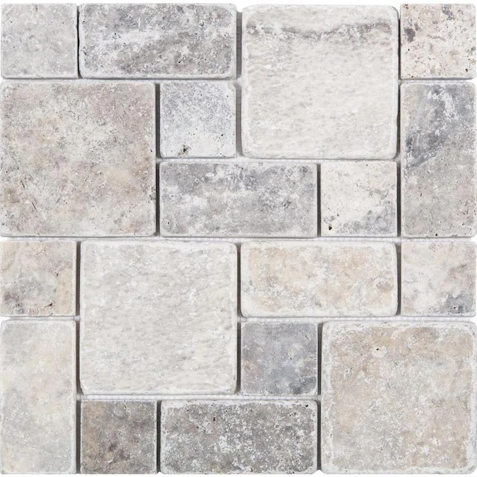 Satori Silver Crescent 12 In X 12 In Honed Versailles Stone Look Wall Tile In 2020 Stone Look Tile Travertine Wall Tiles Wall Tiles