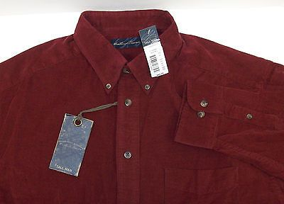 NWT Roundtree & Yorke Casuals Long Sleeve Corduroy Shirt Rust Brown Cream Dk Red | Daisy's Den