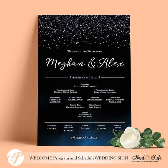 welcome wedding program and schedule sign faux glitter and dark