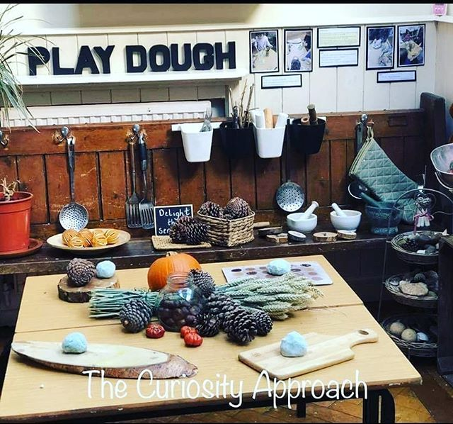 "The Curiosity Approach ™️ on Instagram: ""A beautiful Church Bench used as a Playdough station in one of our settings. . . Full of authentic resources, natural loose parts and real…"" #curiosityapproacheyfs"