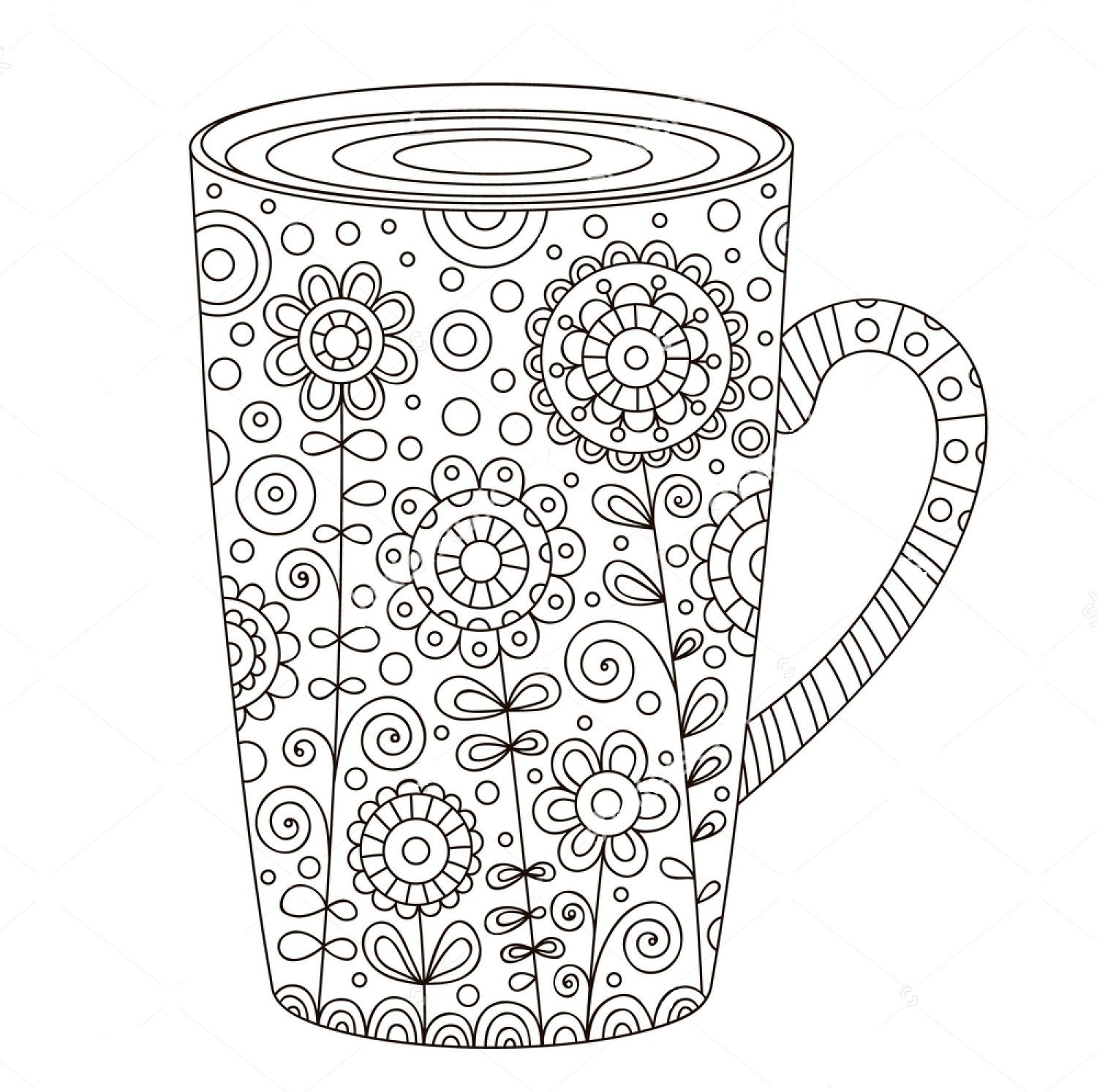 Mug Zentangle Coloring Page Coffee Art Printable Coloring Pages