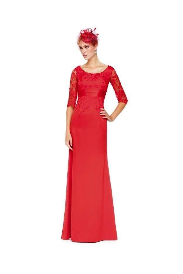 Colección Sonia Peña 2014: Fotos de los modelos - Vestido largo madrina rojo