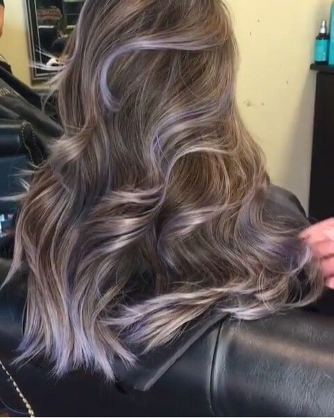 Ash Brown Silver Purple Balayage Highlights Curls Long Hair Purple Balayage Long Hair Styles Curls For Long Hair