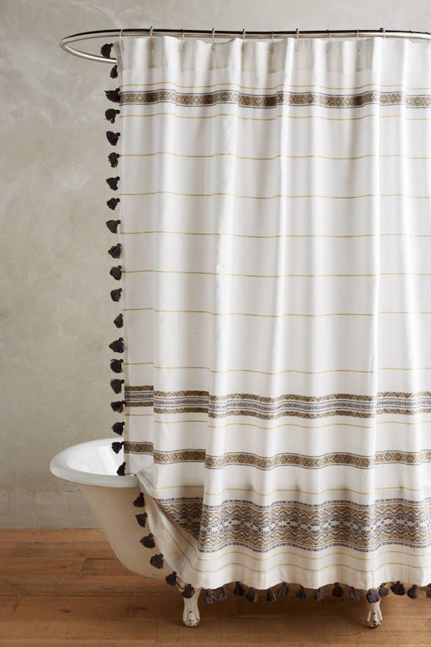 beige striped shower curtain. Boho Shower Curtains Are a Thing Now  Bohemian style Moroccan