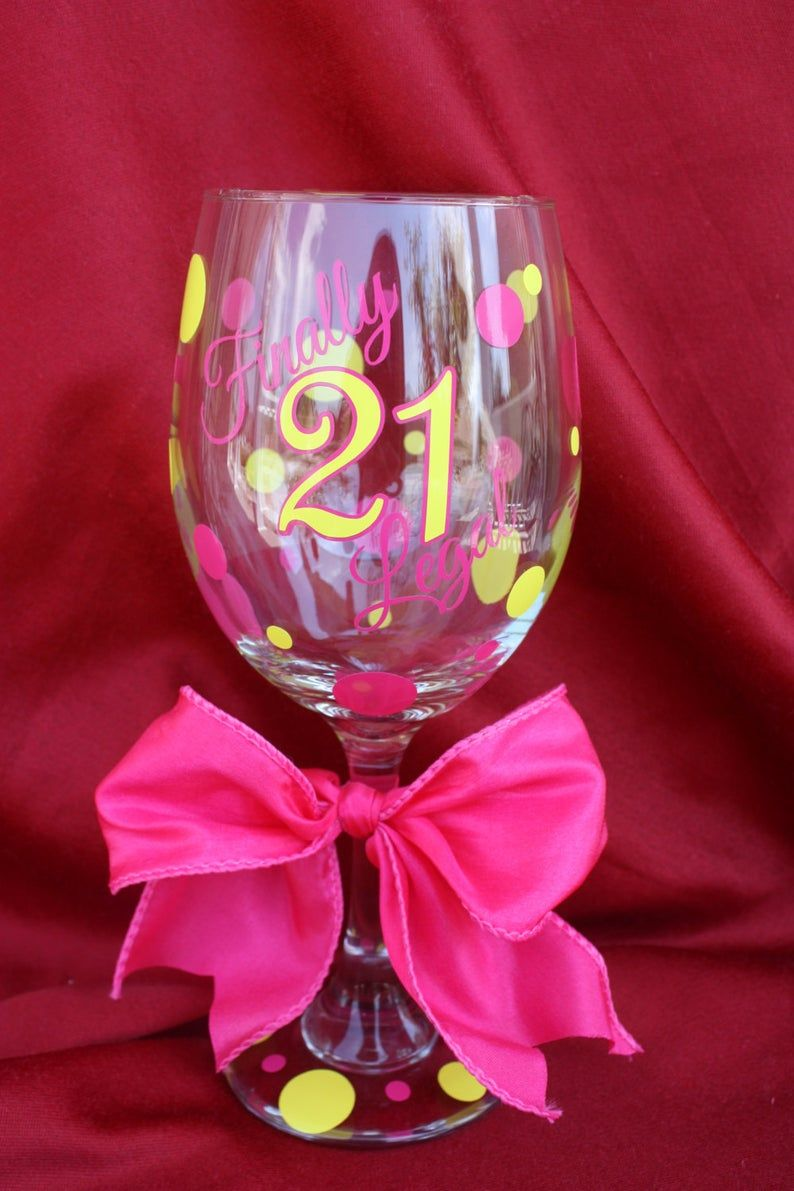 21st Birthday Wine Glass 21st Birthday Gift Ideas Finally Etsy In 2020 21 Birthday Wine Glass 21st Birthday Glass Birthday Glass