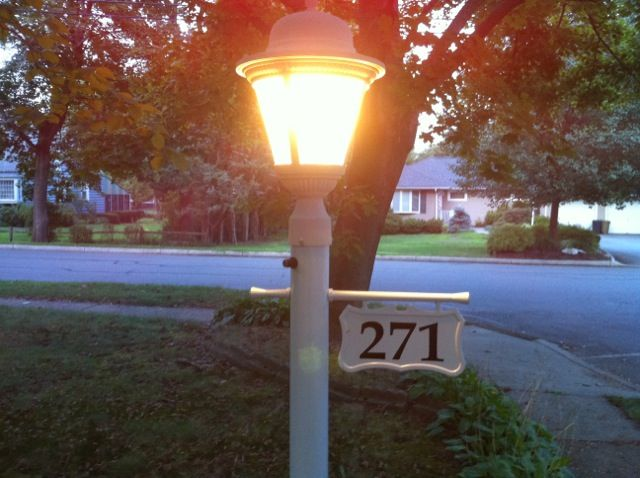Light Pole Sign Post, White Lamp Post With House Number