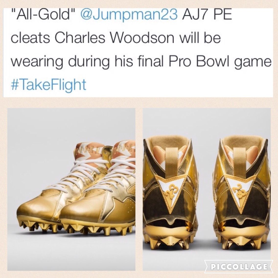 987144e77ee6b2 Charles Woodson to Wear Gold Air Jordan VII Cleats for Final Pro Bowl