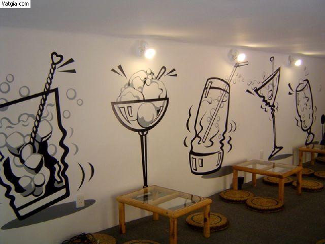 Kết quả hình ảnh cho tranh tường quán trà sữa cà phê