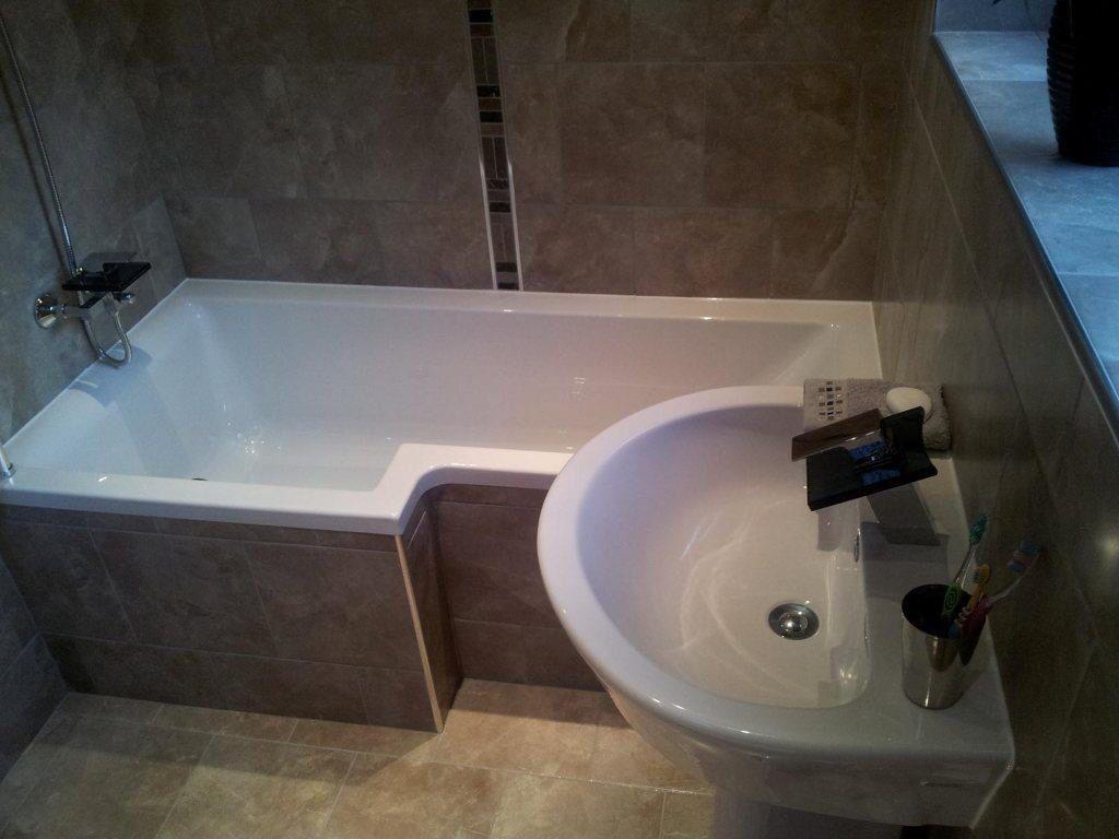 L-Shaped Bath With Tiled Panel. | L Shaped Bath, Bathroom, Bath Panel
