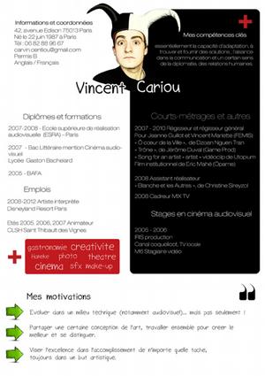 Le Cv Original De La Semaine Vincent Cariou Cv Original Le Cv Reussite Scolaire