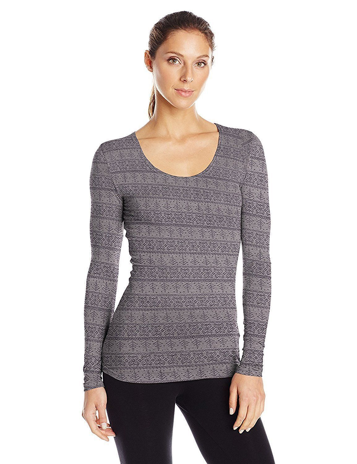 4737b10666e887 32 Degrees Womens Size Medium Long Sleeve Scoop Neck Base Layer Top,  Heather Stone