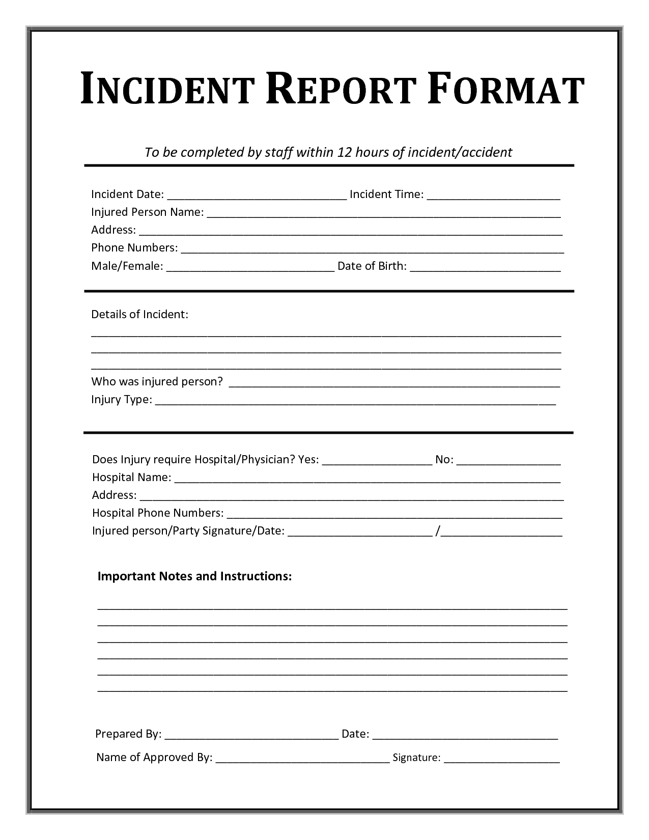 Incident Report Form Template With Injury Incident Report Form Template