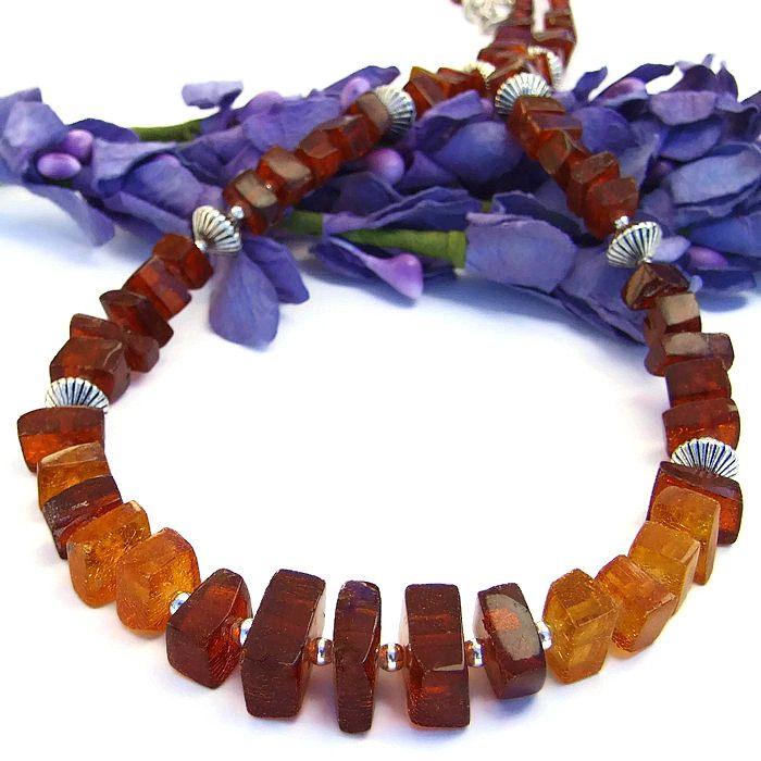 Cognac and Honey #Amber #Necklace, Mine Cut #Gemstone #Handmade Beaded Artisan Jewelry by @ShadowDog #ShadowDogDesigns #Indiemade - $85.00 - SOLD