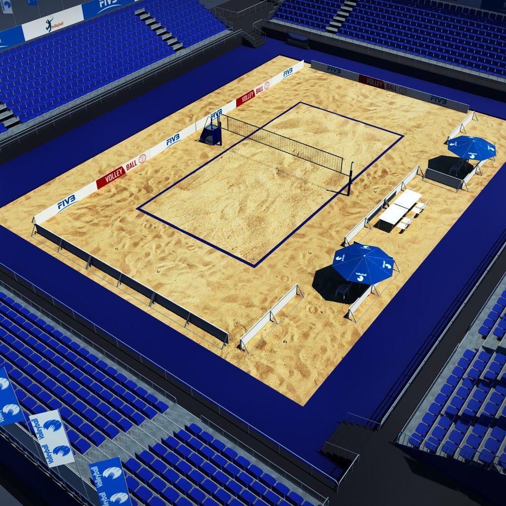 Volleyball Beach Court Stadium High Detail Stadium Volleyball Volleyball Net