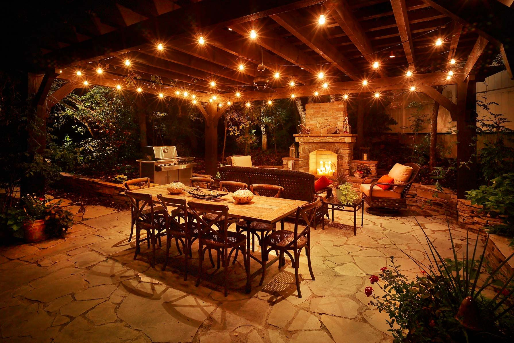 Patio Lights Festoon Lighting Composed With Down Lighting And - Lighting for patio