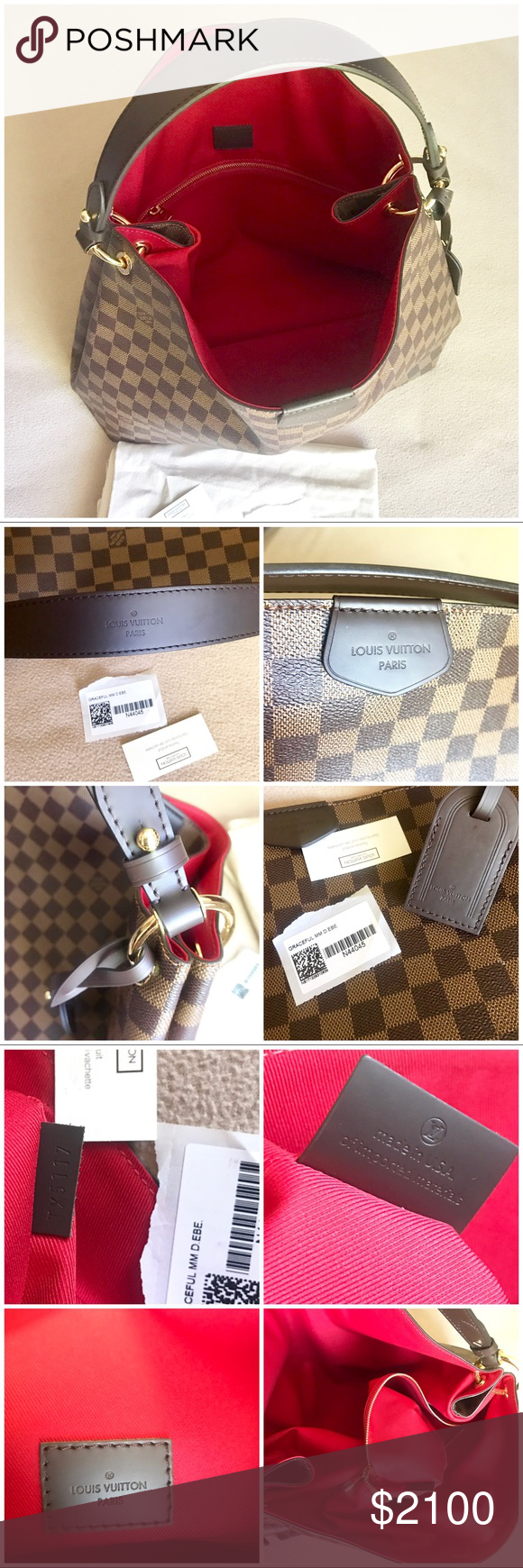 cd55100e5bcd 💯Authentic NWT Louis Vuitton Graceful MM DAMIER This is one gorgeous and  very versatile Bag that I just acquired and not in an hurry to let go .