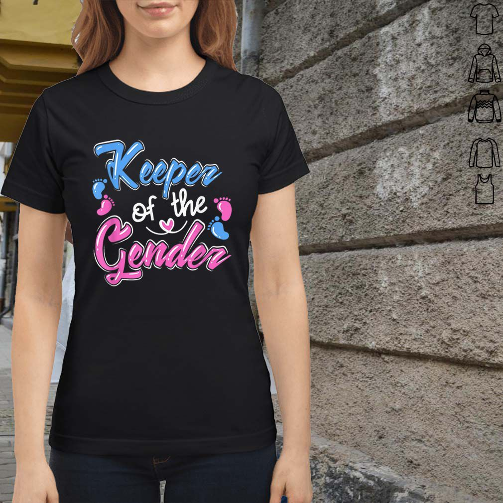 Top Keeper Of The Gender Reveal Announcement Shirt Hoodie Sweater Gender Reveal Announcement Tops T Shirts For Women