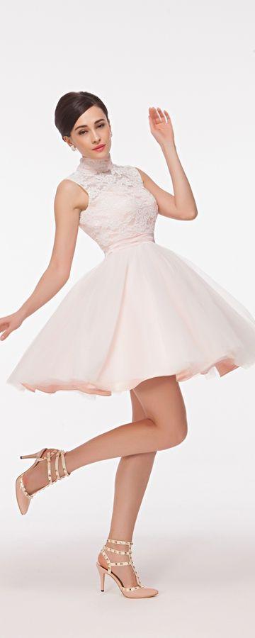 Modest High Neck White Short Prom Dresses Key Hole Back | Poofy prom ...