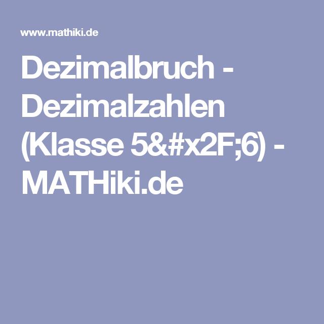 Dezimalbruch - Dezimalzahlen (Klasse 5/6) - MATHiki.de   mathe ...