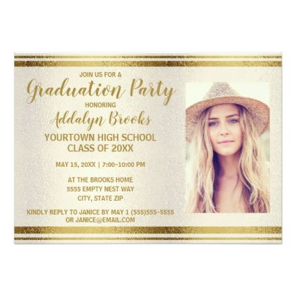 Creamy White Gold Graduation Party Photo Invite graduation party