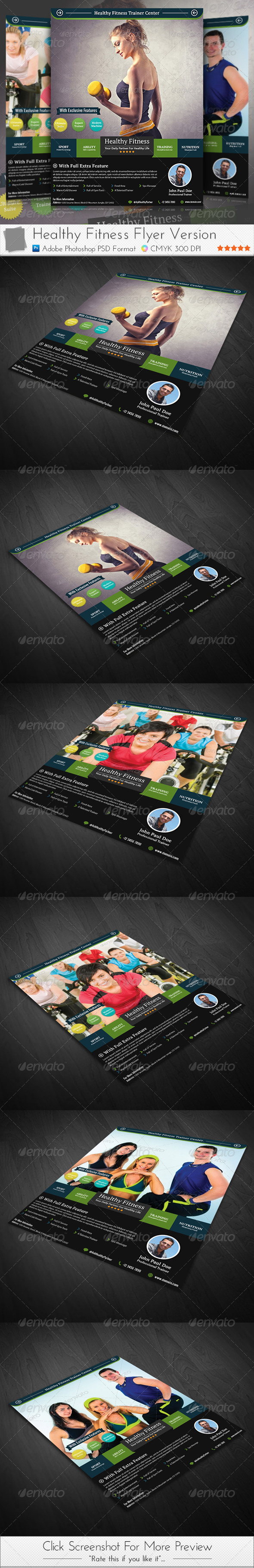 Healthy Fitness Flyer  Promotions    Print Templates