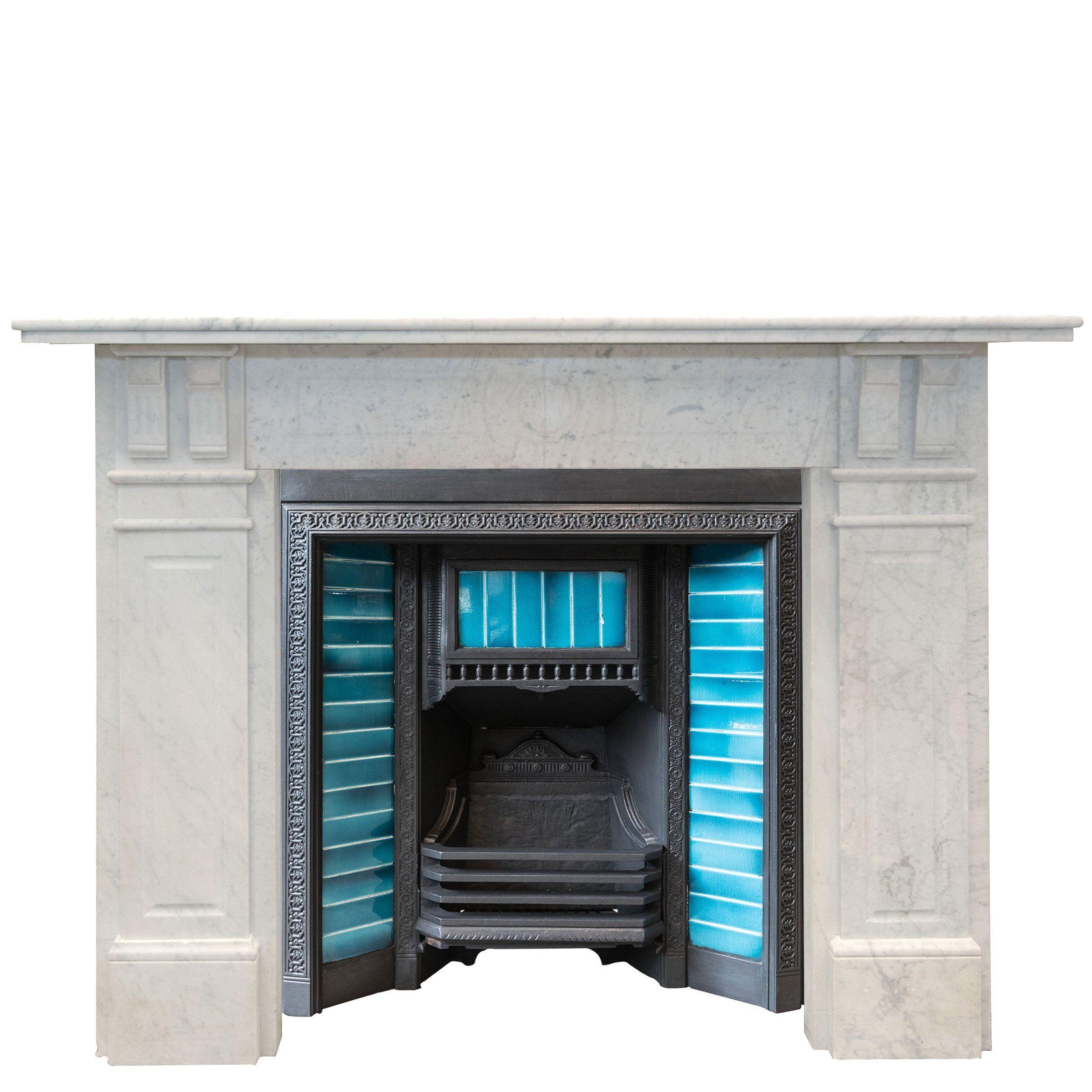 Antique Edwardian Carrara Marble Fireplace Surround Fireplace