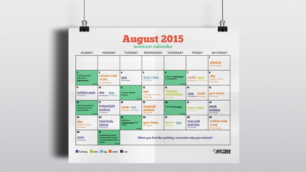 Prep for the balancing act that is August with this workout calendar