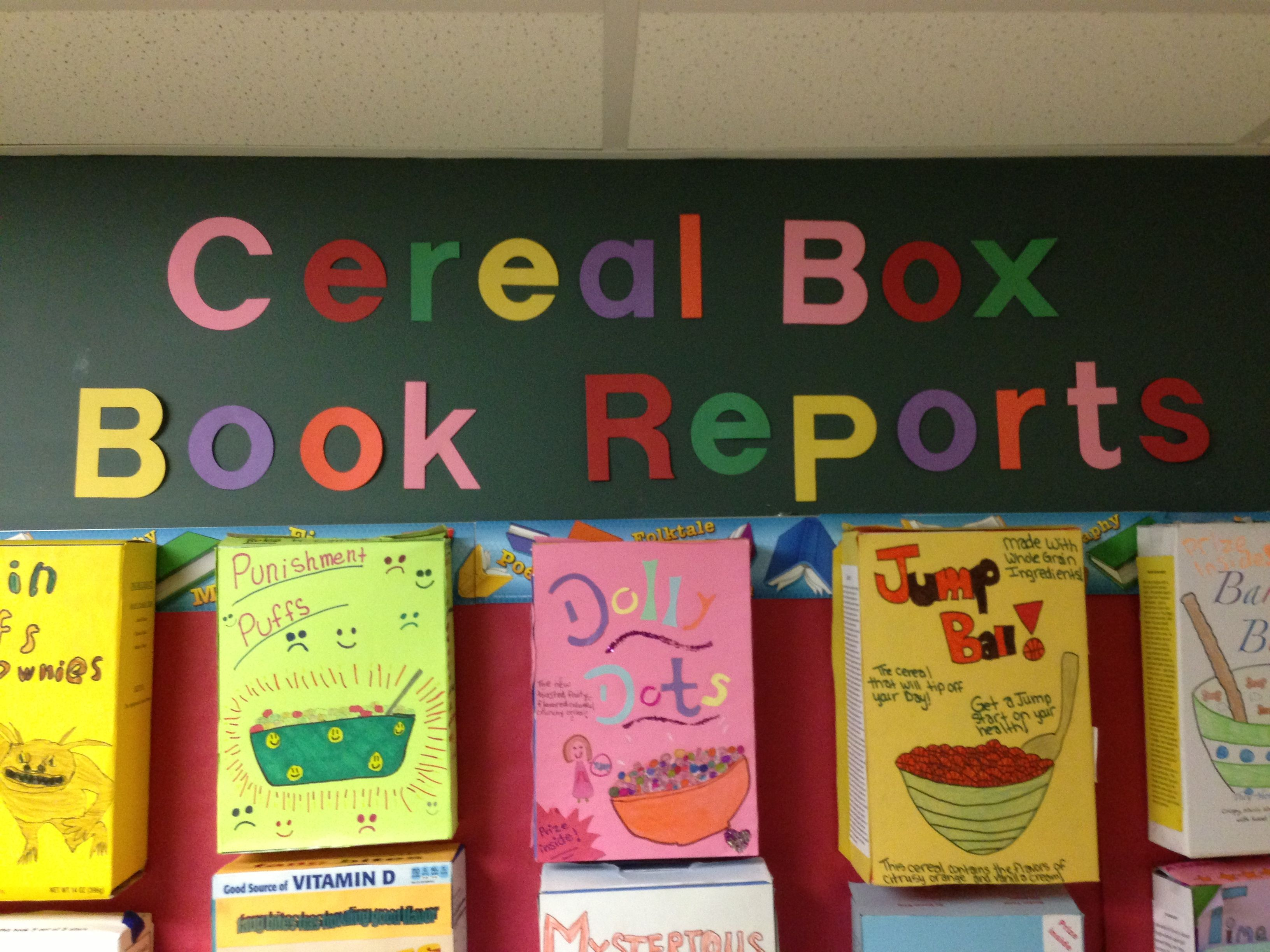 book report cereal box These preprinted boxes make a fun and familiar cereal-box book-report project simple the guide offers creative, standards-based presentation ideas and a rubric.