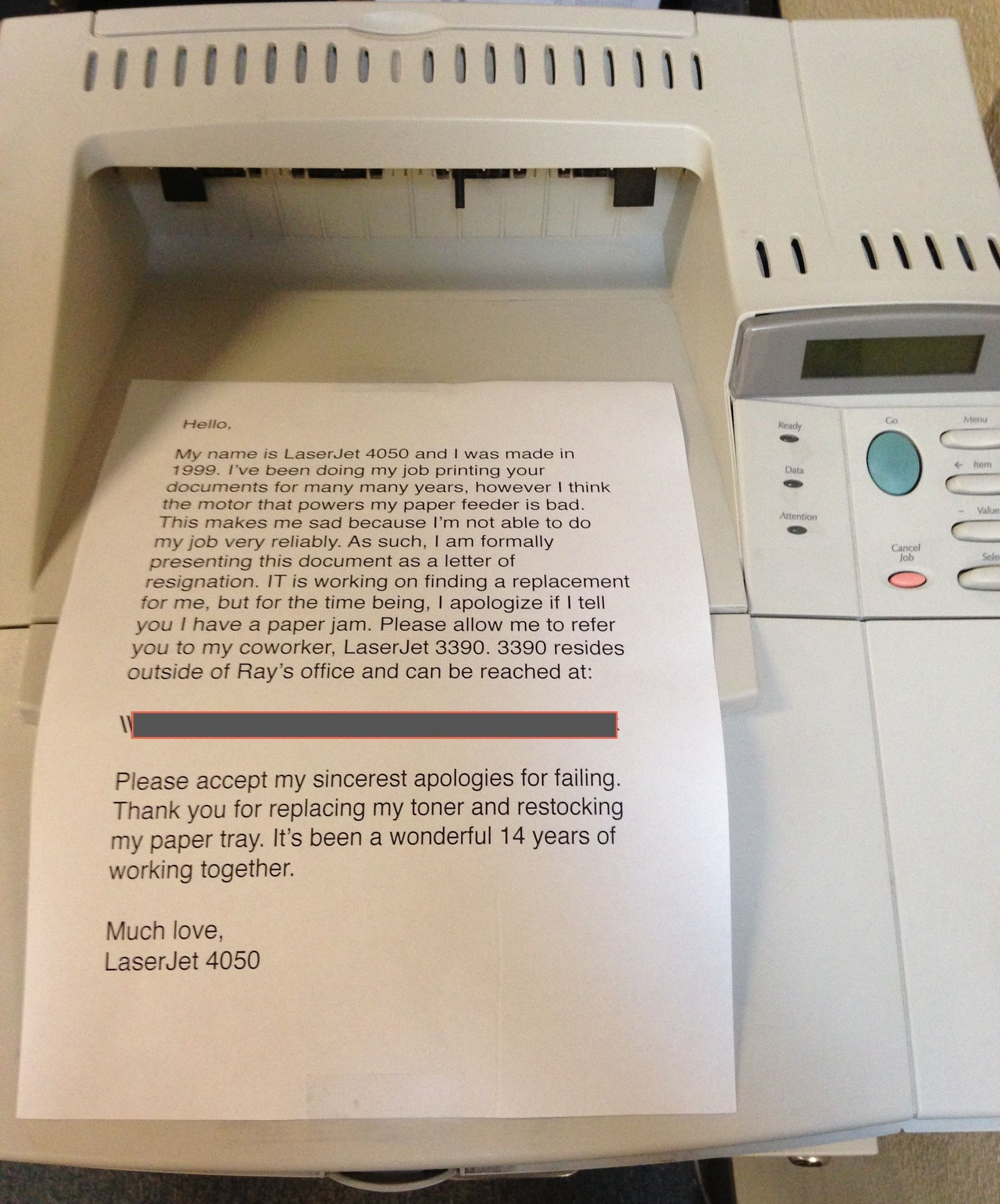 this office printer that wrote its own resignation letter will resignation letter