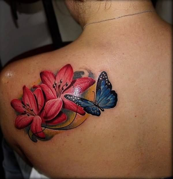 49288a7ff Blue Butterfly And Hibiscus Tattoo On Left Back Shoulder | tattoo ...