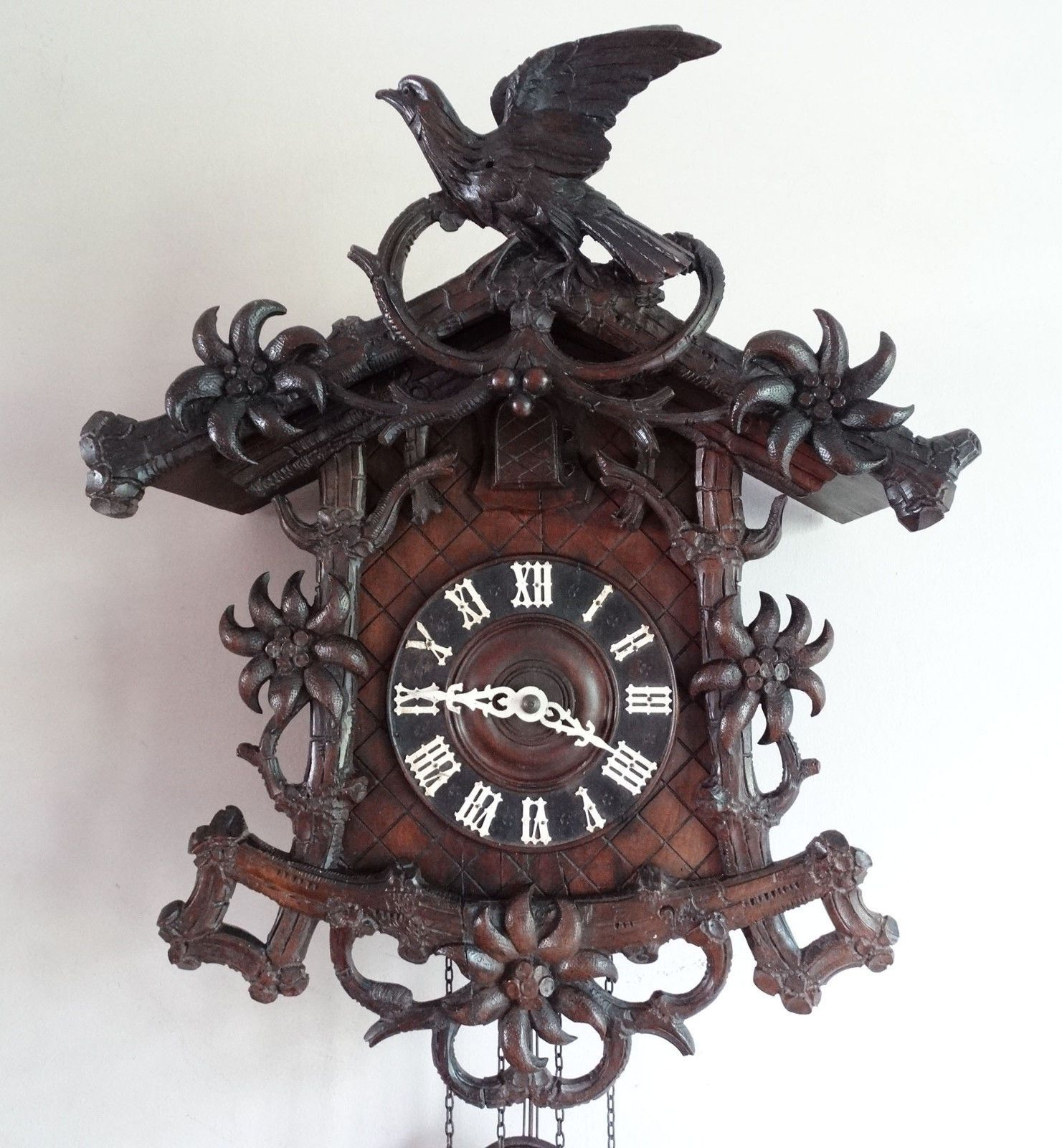Antique cuckoo wall clock weight driven black forest germany antique cuckoo wall clock weight driven black forest germany chiming 30 hour cad 162 amipublicfo Images